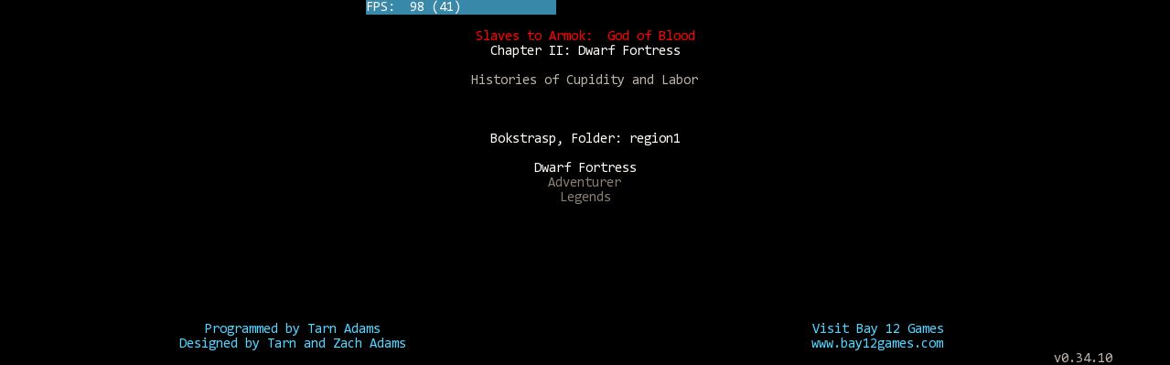Dwarf Fortress Spieltyp-Auswahl