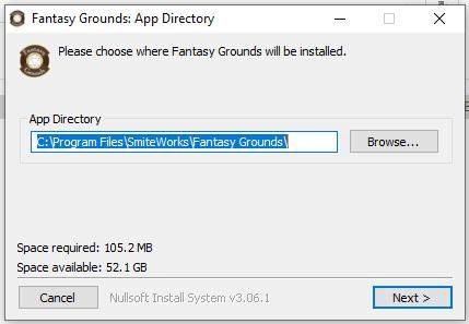 Fantasy GRounds Installationspfad