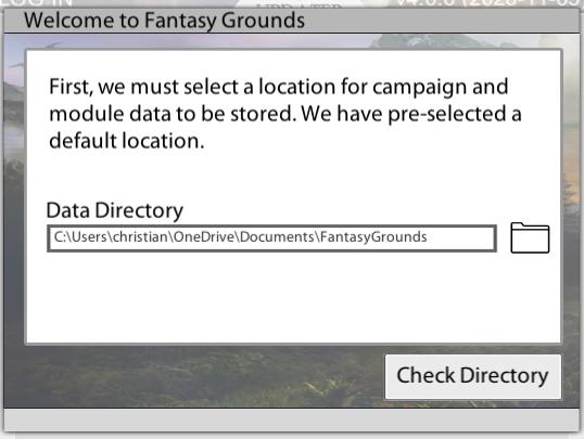 Fantasy Grounds Updater Daten Pfad Check Directory